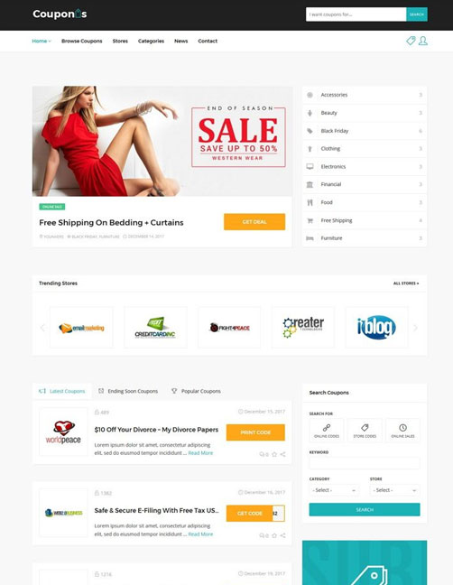 Couponis – Affiliate & Submitting Coupons WordPress Theme