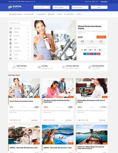 KUPON - Coupons / Daily Deals / Group Buying - Marketplace WordPress Theme